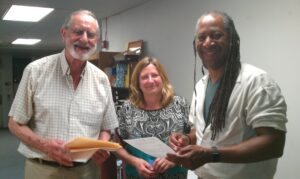 Ken George, President with Kathy Wilson, Development Chair and Keith Burress, Vice President
