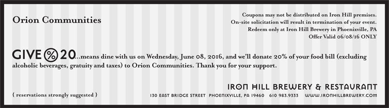 Dine at Iron Hill on June 8 & Support Orion!